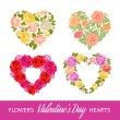 Four rose hearts set. — Stock Vector