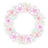 Ghirlanda floreale - design nozze — Vettoriale Stock