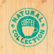 Coffee label on wood — Stock Vector