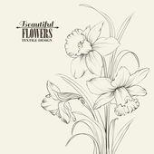 Beyaz arka plan üzerinde izole bağlı nergis çiçekleri — Stok Vektör