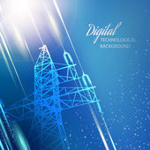 Blue electric power transmission tower. — Stock vektor
