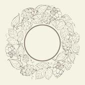 Monokrom cirkel av frukt humle — Stockvektor