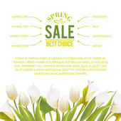 Spring flowers backround with text lettering. — Stock Vector