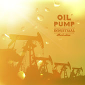Oil pump jack silhouette design. — Cтоковый вектор