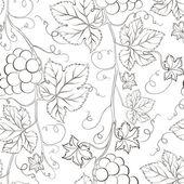 Naadloze druif patroon zwart-wit. — Stockvector