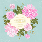 Beautiful card with a  wreath of different color flowers. — Stock vektor