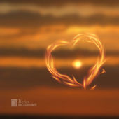 Fire love heart. — Vector de stock