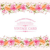 Border of flowers in vintage style. — Stock Vector