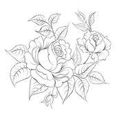 Single black rose ink painted. — Stok Vektör