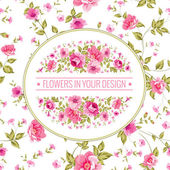 Floral pattern with branch of roses in oval label. — Stock Vector