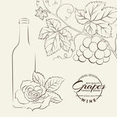 Hand drawn wine label — Vector de stock
