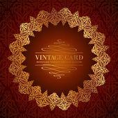 Golden damask circle. — Stock Vector