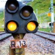 Railway signal light outdoors - Stock Photo