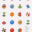 Flags balls/stamps of the autonomous communities of Spain - Stock Photo