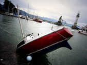 A sink yacht in Boden See — Stock Photo