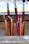 Burn joss sticks in Chinese temple — Stock Photo