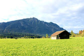 Farm and cabin on Zugspitze — Stock Photo