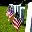 Gravestone with US flags — Stock Photo