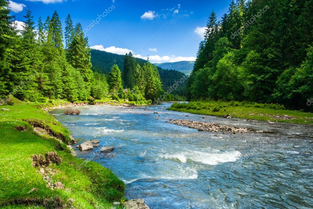 Фотообои Mountain fast river
