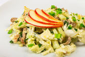 Meat salad with apples — Stock Photo
