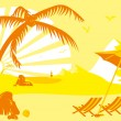 Stock Vector: Summer vacation on the beach under a palm tree