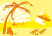 Sommarsemester på stranden under en palm — Stockvektor