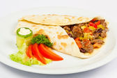 Burrito with meat and vegetables — Stock Photo