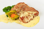 Piece of Bavarian roasted pork in beer sauce — Stock Photo