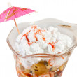 Hawaiian fruit cocktail with whipped cream isolat — Stock Photo
