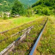 Railway sneaking through mountain near the wilage — Stock Photo