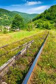 Demiryolu wilage yakınındaki dağ yoluyla gizlice — Stok fotoğraf