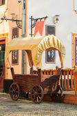 Wagon parked on the old cobbled street — Stok fotoğraf