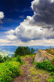 Mountain panorama with white stone before the storm — Stock Photo