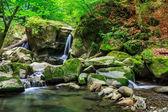 Krásný vodopád vyjde obrovský kámen v lese — Stock fotografie