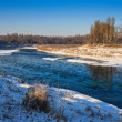 Morning ice drift on a small river — Stock Photo
