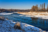 Morning ice drift on a small river — Foto Stock