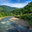Stock Photo: River meanders goe in mountains