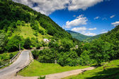 Fork roads to the mountain village — Foto Stock
