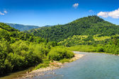 River turns and goes to the mountains — Stock Photo