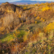 Stock Photo: Valley and far away mountain range in autumn. horizontal