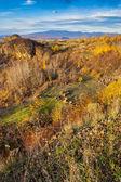 Valley and far away mountain range in autumn. horizontal — Stock Photo