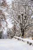 Road up with curb and lanterns covered with snow — Stock Photo
