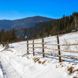 Fence on snowy mountain slope near the forest in winter — Stock Photo