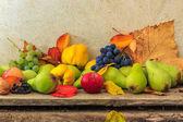 Meyve ve yaprakları ahşap altlığı ile sonbahar natürmort — Stok fotoğraf
