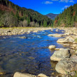 Stock Photo: River flows by rocky shore near autumn mountain forest