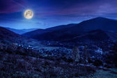 Moon light overthe vilage and hillside — Stock Photo