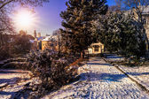 Dome seen from snowy City Park — Stock Photo