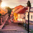 Curve cobbled streets of old town goes down — Stock Photo #36036507