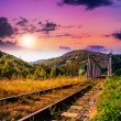 Stock Photo: Morning rail metal bridge in mountains