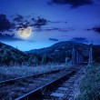 Stock Photo: Night rail metal bridge in mountains